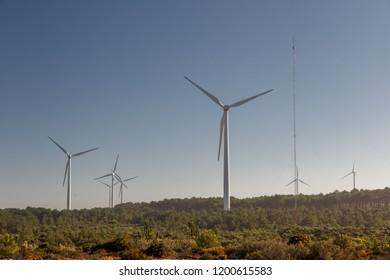 A wind turbine over plain land