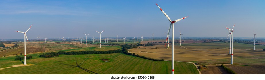 Wind turbine Panorama wind farm aerial view and close-up view