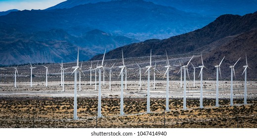 Wind turbine power generating farm in California