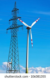 wind turbine of a wind power plant. production of alternative and sustainable energy for electricity generation
