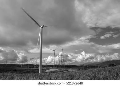 Wind turbine power Scenic and landscape area agriculture at KhaoKho in Phetchabun ,Thailand,black and white picture