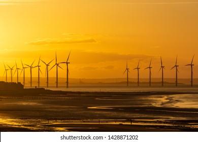 Wind turbine at Redcar. North east coast of England. Sunset beauty.
