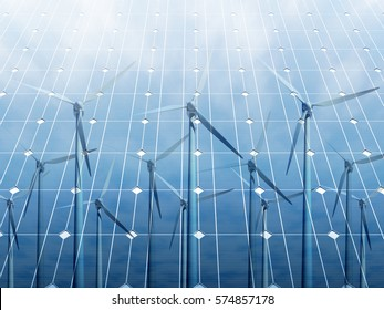 Wind turbine reflected on the solar panels against clear blue sky. 3D illustration of renewable energy concept.