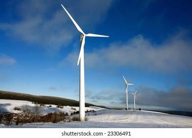 wind turbine in snowy landscape
