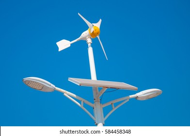 wind turbine solar panel and light