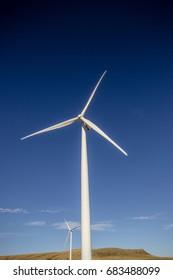 A wind turbine in southern Alberta, Canada