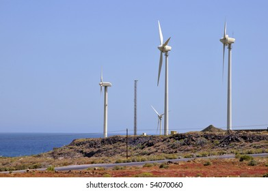 Wind turbine at the Southern part of Tenerife in the Spanish Canary Islands