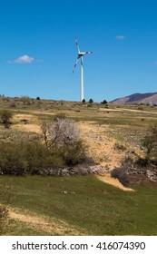 Wind turbine in spring