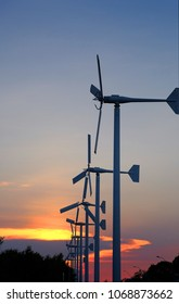 Wind turbine at the sundown