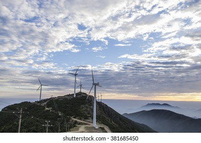 Wind turbine at sunrise