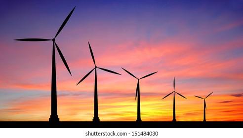 wind turbine at sunset background ecosystem for design