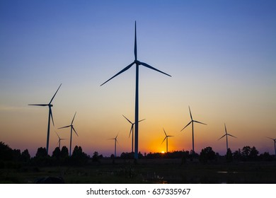 wind turbine sunset background ecosystem vintage.  wind turbine tower. wind turbine technology.