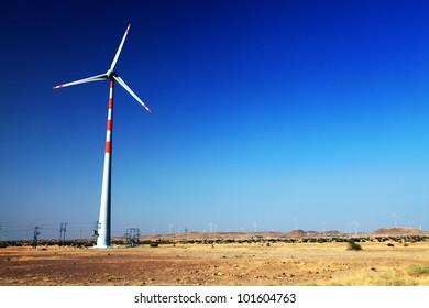 Wind turbine in Thar Desert, India, Asia