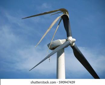 Wind turbine that was struck by lightning.
