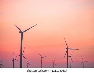 Wind turbine and twilight sky  sunset