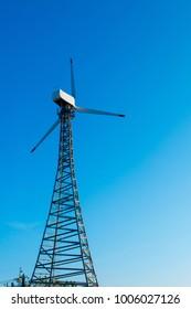 A wind turbine use wind to create electricity.