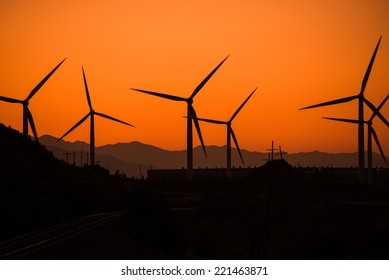Wind Turbine in Utah at Sunset. Alternative Energy Source Theme. Wind Power.