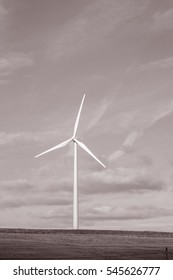 Wind Turbine, Valladolid; Spain in Black and White Sepia Tone