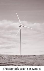 Wind Turbine, Valladolid; Spain in Black and White Sepia Tone