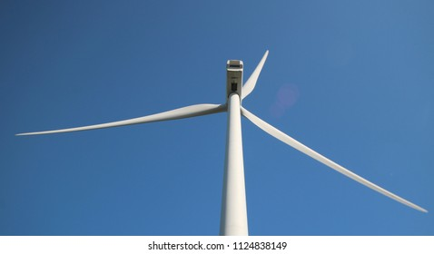 Wind turbine wings in close up in the dunes of Neeltje Jans island in the Netherlands