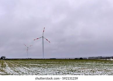 wind turbine in winter