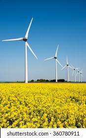 Wind turbine in a yellow flower field of rapeseed