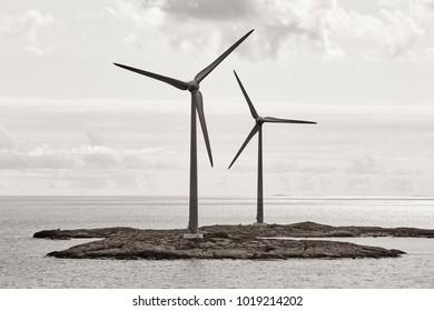Wind turbines in the baltic sea. Renewable energy. Finland seascape
