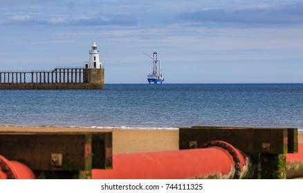 Wind turbines being installed on the Northumberland coastline, England