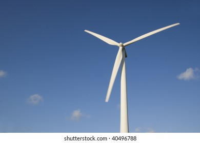 Wind turbines with a clear blue sky