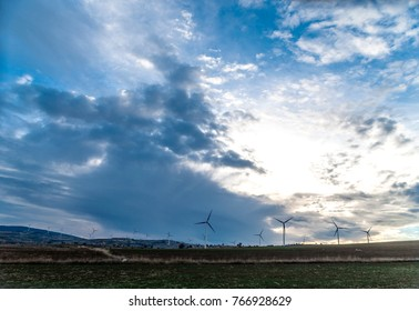 wind turbines  cloudy day