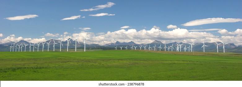 Wind turbines creating clean energy, Southern Alberta, Canada