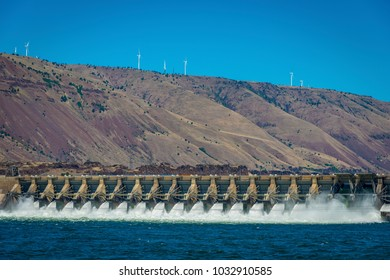 Wind turbines and the Dalles dam on the Columbia River