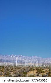 Wind Turbines in the desert providing wind power for electricity
