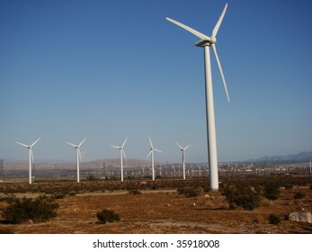 Wind Turbines in the Desert of Southern California Near Palm Springs