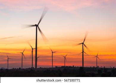 Wind turbines during sunset