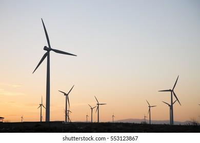 Wind Turbines at Dusk, Aragon, Spain
