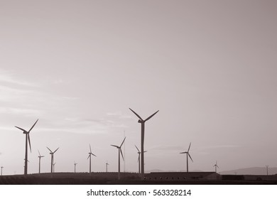 Wind Turbines at Dusk, Aragon, Spain in Black and White Sepia Tone