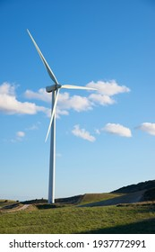 Wind turbines for electric power production, Zaragoza Province, Aragon in Spain.