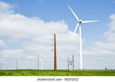 wind turbines and electric transmission lines located on farmland near Lake Benton, Minnesota