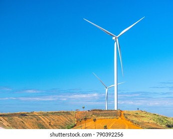 Wind turbines for electricity in the field and blue sky.