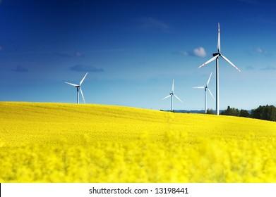 Wind turbines. Energy. Beautiful meadow