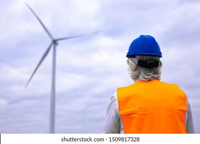 Wind turbines engineer is working on the field