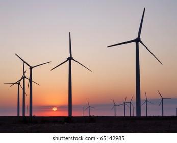 Wind turbines farm. Alternative energy source