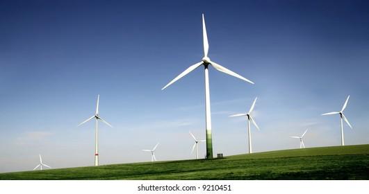 Wind turbines farm. Alternative energy source.