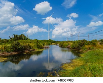 Wind turbines in a wind farm for green electricity generation in Nakhon Si Thammarat, Thailand