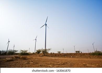 Wind turbines at wind farm, Jaisalmer, Rajasthan, India