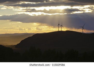 Wind turbines farm in the northeast of china