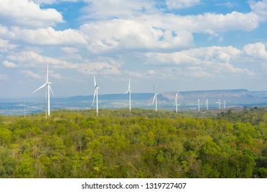 A Wind turbines farm on the hill. Alternative energy source.
