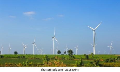 Wind turbines farm on the hills.