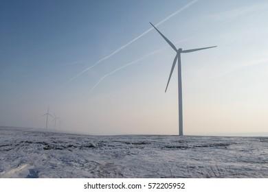 wind turbines farm on sunny field with fog and snow